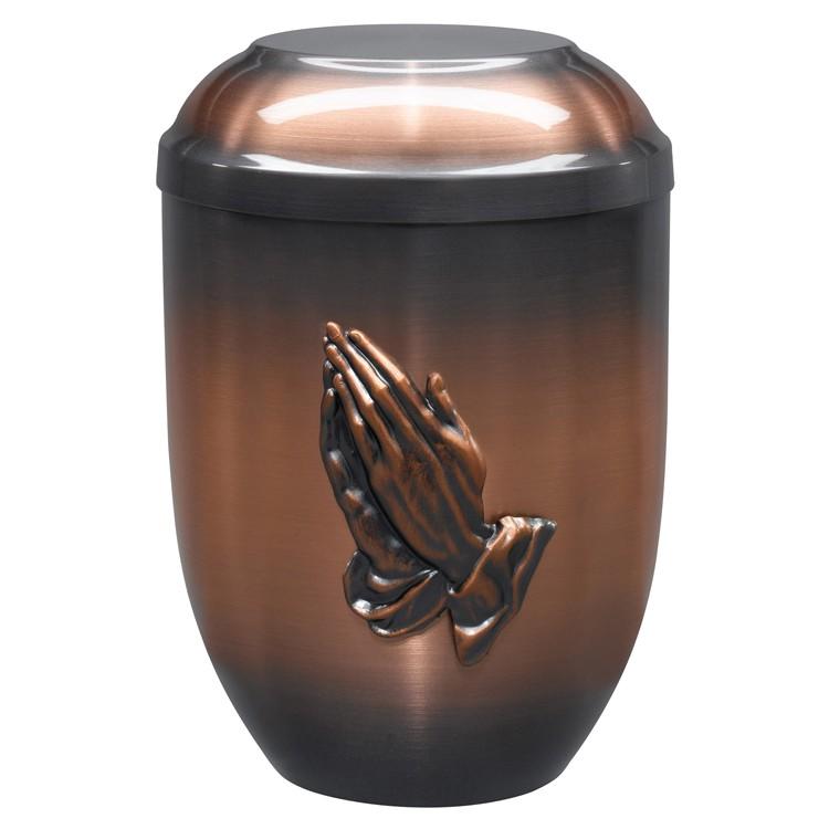 Kupfer-Urne altkupfer gefärbt mit Emblem betende Hände : 254 mm, ø = 182 mm
