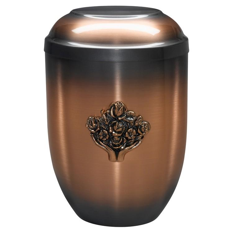 Kupfer-Urne (hell) mit Emblem Hände mit Blumen : 254 mm, ø = 182 mm