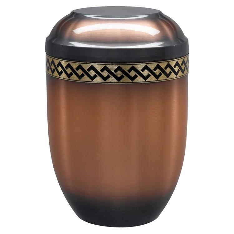 Kupfer-Urne altkupfer gefärbt (hell) mit Rauten-Dekorband: 254 mm, ø = 182 mm