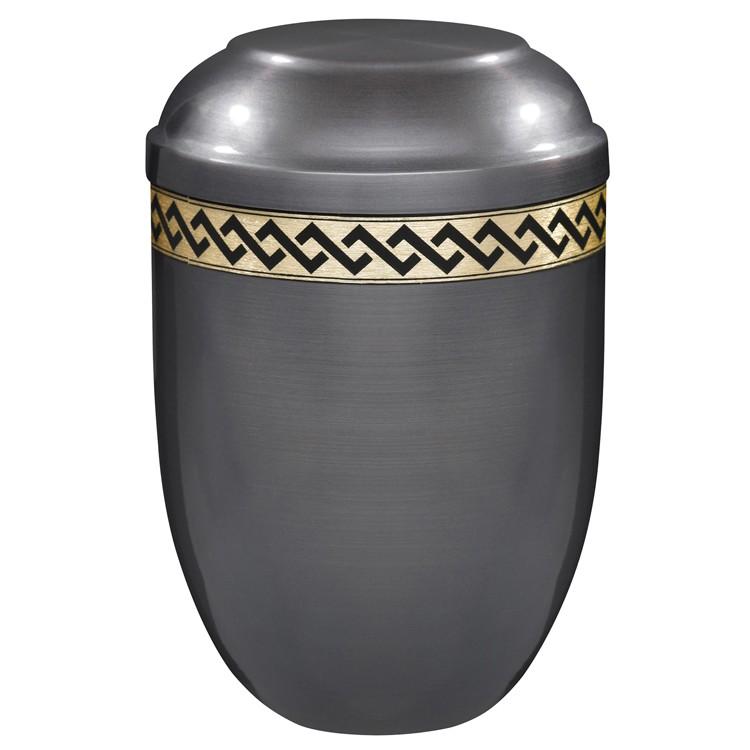 Kupfer-Urne brüniert mit Rauten-Dekorband: 254 mm, ø = 182 mm