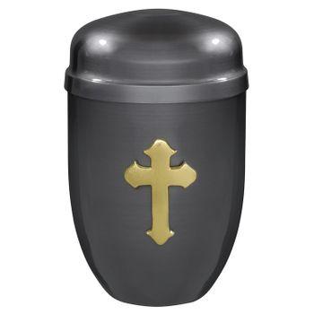 Kupfer-Urne brüniert mit poliertem Kreuz-Emblem: 276 mm, ø = 185 mm 001