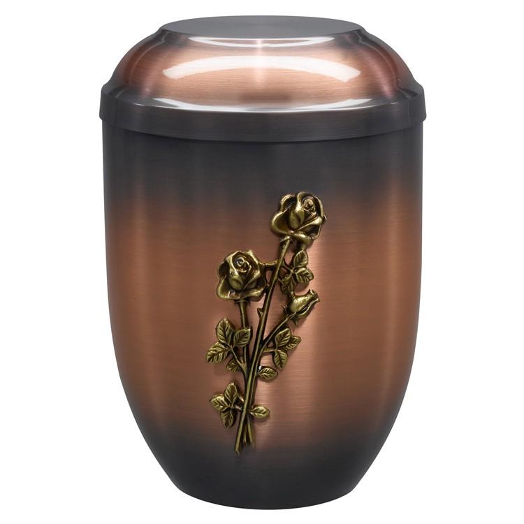 Kupfer-Urne altkupfer gefärbt (hell) mit Stielrosen-Emblem: 254 mm, ø = 182 mm