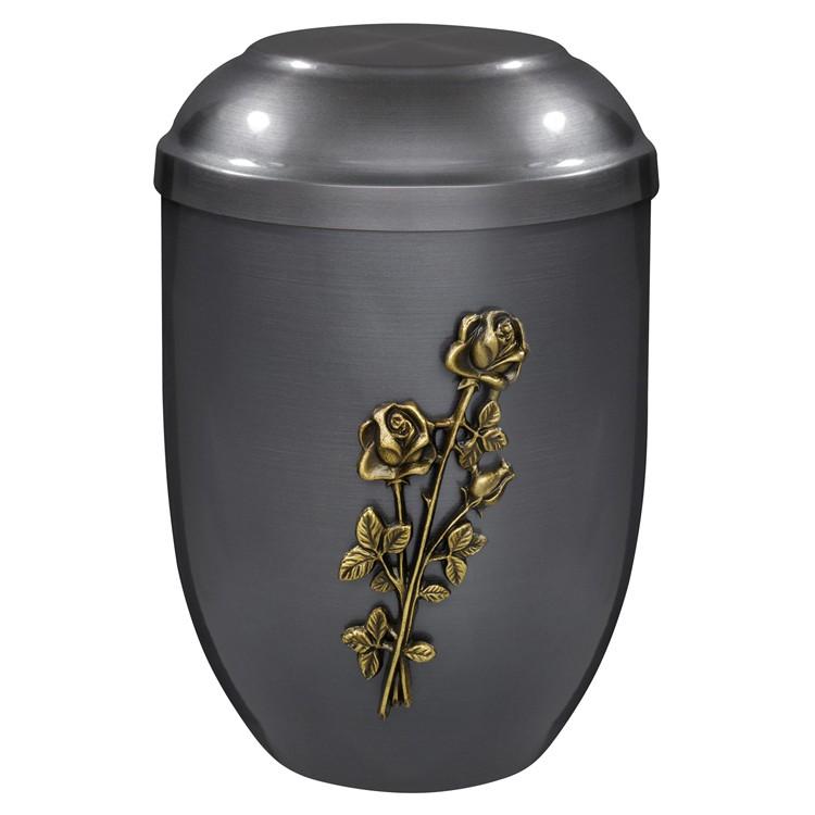 Kupfer-Urne brüniert mit Stielrosen-Emblem: 254 mm, ø = 182 mm