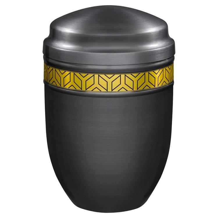 Kupfer-Urne brüniert mit germanischem Runen-Dekor- band: 272 mm, ø = 183 mm
