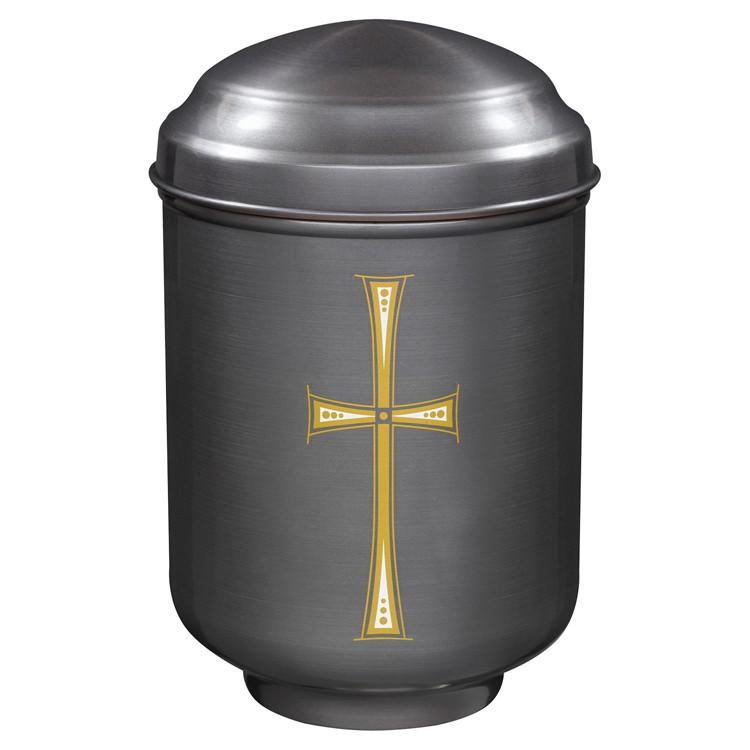 Kupfer-Urne brüniert mit Motiv: KREUZ : 282 mm, ø = 189 mm