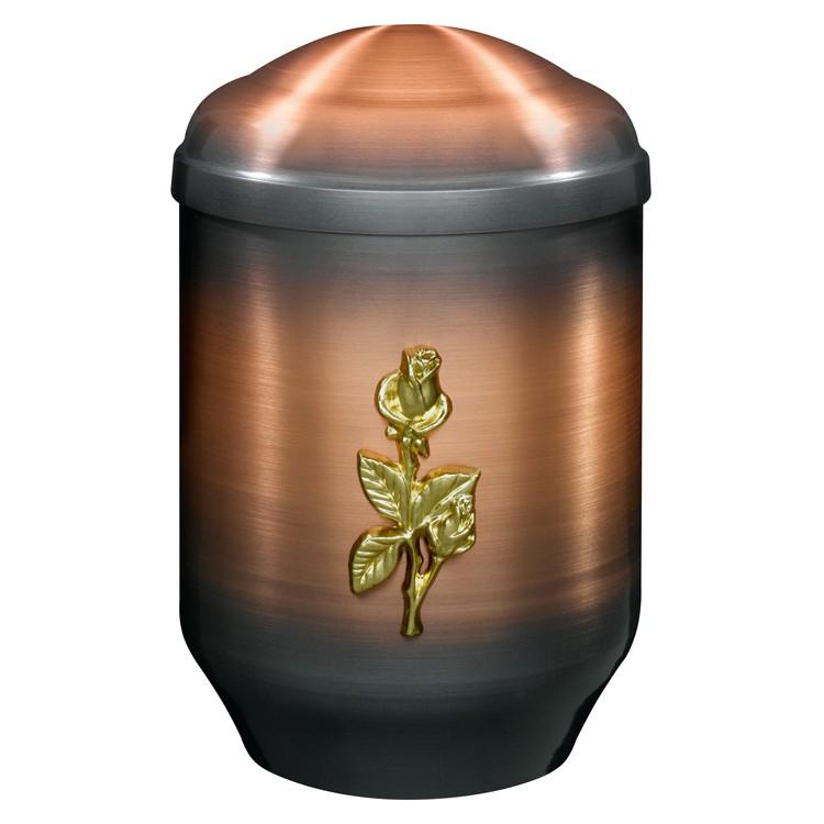 Kupfer-Urne altkupfer gefärbt mit Rosen-Emblem: 275 mm, ø = 183 mm