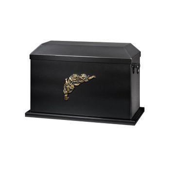 Kupfer-Sarkophag brüniert mit Rosen-Emblem (für 2 Aschenkapseln): 422x225x275 mm (LxBxH)