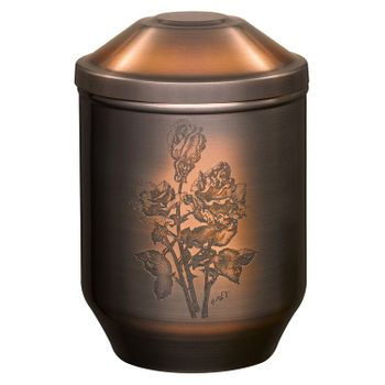 Kupfer-Urne brüniert mit geätztem Motiv: ROSENSTRAUSS : 264 mm, ø = 183 mm 001
