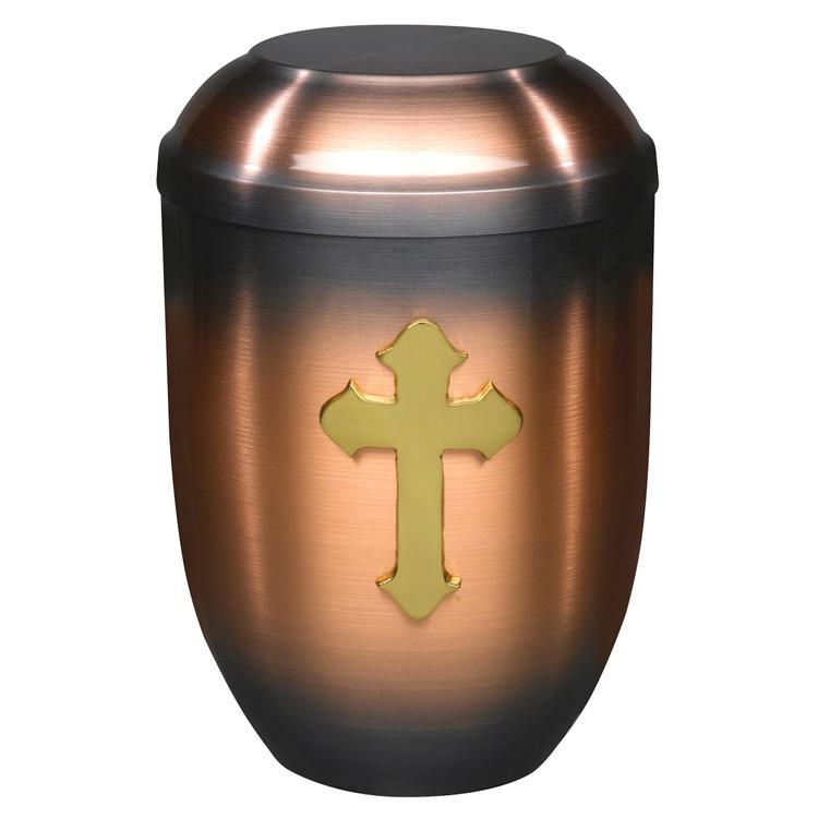 Kupfer-Urne (hell) mit massivem Kreuz-Emblem: 254 mm, ø = 182 mm