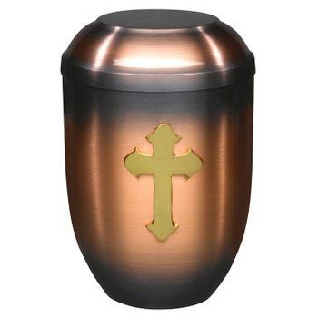 Kupfer-Urne (hell) mit massivem Kreuz-Emblem: 254 mm, ø = 182 mm 001