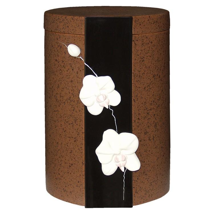 Keramik-Urne ORCHIDEEN erdfarben: 285 mm, ø = 190 mm