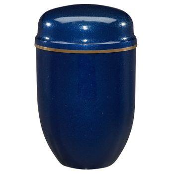 Edelplatal-Urne aus Stahl blau mit Glimmer und Goldband am Deckel: 276 mm, ø = 182 mm
