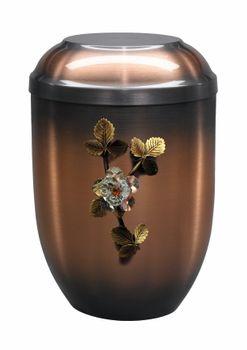 Kupfer-Urne mit Emblem Kristallrose