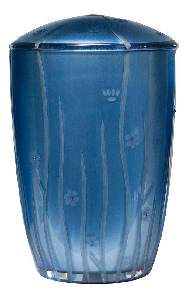 Glas-Urne Botanica dunkelblau mit Swarovski Kristallen 290 mm, Ø = 195 mm