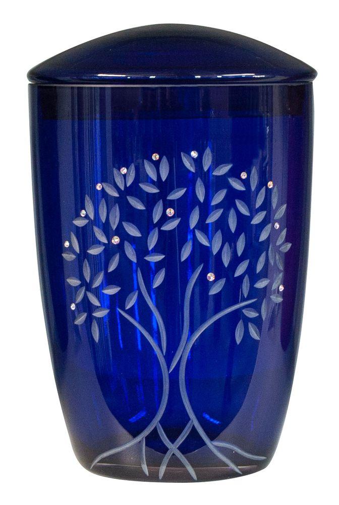 Glas-Urne Albero dunkelblau Baum Lebensbaum mit Swarovski Kristallen 290 mm, Ø = 195 mm