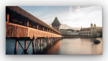 Luzern Kappelbrücke Sonnenuntergang – Bild 1