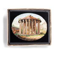 Der Rundtempel auf dem Forum Boarium - Brosche mit Mikromosaik aus Rom, entstanden um 1850. Photo © 2018 Hofer Antikschmuck Berlin