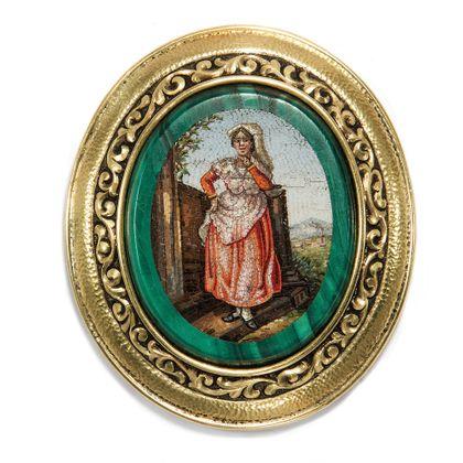 Landlust - Seltenes antikes Mikromosaik in Gold, Rom um 1820, Fassung um 1910. Photo © 2018 Hofer Antikschmuck Berlin