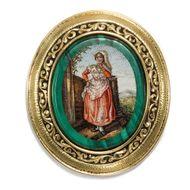 Seltene antike Mikromosaik Brosche in Gold, Rom um 1820 / Campagna Tracht