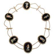 Rom um 1820: Antikes Mikromosaik COLLIER, Gold Kette Mosaik, micromosaic Pinelli