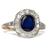Für immer Treu - Feiner Ring der Belle Époque mit Saphir & Diamanten, um 1910. Photo © 2018 Hofer Antikschmuck Berlin