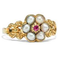 Um 1820: Antiker GOLD RING mit Rubin & Naturperlen / Biedermeier Verlobungsring