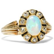 Um 1890: Prachtvoller OPAL & DIAMANT RING 585 Gold Diamanten Vollopal / Email