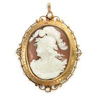 Antike Gemme der Athene, Brosche / Anhänger um 1875 / Gemme Kamee Gold Cameo