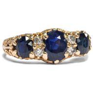Trilogie Ring um 1900: Saphir & Diamant Ring 585er Gold, Verlobungsring