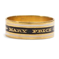 Datiert 1805: Antiker Trauerring, Gold & Email Ring / Georgian Mourning