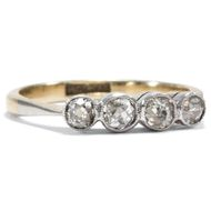 Um 1925: Antiker Diamant Ring in 585 Weißgold Platin & 0,16 ct Brillanten