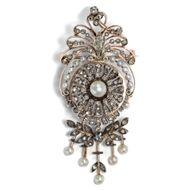 Antike Naturperlen & Diamanten Brosche in 750 Gold & Silber, Frankreich um 1870