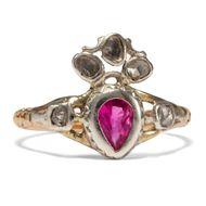 Liebesgeschenk um 1750 Rubin Ring des Rokoko / Herz Gold Silber Verlobungsring