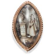 Mors certa, Hora incerta  - Anrührende Brosche mit Sepia Malerei des Klassizismus, England, datiert 1773. Photo © 2018 Hofer Antikschmuck Berlin