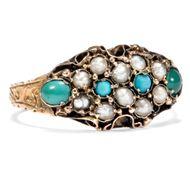 Datiert 1881: Türkis & Perlen Ring in 15ct Gold Victorian Perlen Verlobungsring