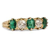 England um 1890: Viktorianischer 750 Gold RING mit Smaragd & Diamanten, Diamant