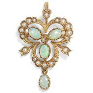Vintage  Brosche / Anhänger, viktorianischer Stil, Opale Gold Perlen London 1994