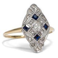 Art Déco 1930: Antiker DIAMANT & SAPHIR Ring, 750 Gold & Platin / Verlobungsring