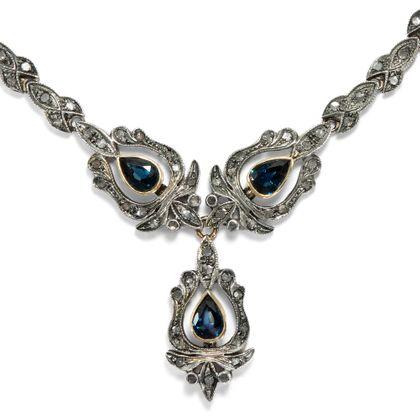 Gioia italiana - Prachtvolles Saphir- & Diamant-Collier in Silber & Gold, Italien um 1960. Photo © 2018 Hofer Antikschmuck Berlin