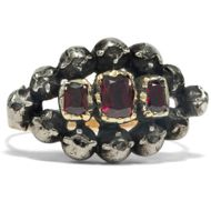 Georgian um 1780: Antiker RING mit Granaten & Diamanten in Gold & Silber, Garnet
