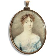 Um 1800: Miniatur Malerei Klassizismus, Anhänger Goldfassung Haar / Miniature