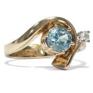 Vintage Ring mit blauem Zirkon um 1990, 585,Gold Verlobungsring Diamant