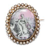 Brosche 750er Gold mit Perlen und Watteau-Szene auf Porzellan, Frankreich um 1860