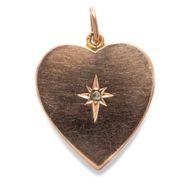 Um 1880: Antiker Herz ANHÄNGER in 585 Gold & Diamant Foto Medaillon Heart Locket