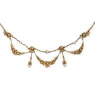 Antikes Rosen Collier Kette 750er Gold Perlen, Frankreich um 1890 Naturperlen