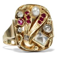 Um 1940: Antiker 585 Gold RING, Mondstein, Perle, Rubin & Diamanten / Art Déco