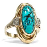 Schöner 585er GOLD RING mit TÜRKIS & Diamanten / vintage Turquoise Ring Gelbgold