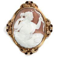 Antike GEMME: Göttin DIANA als Brosche um 1860 / in Gold Kamee Cameo Brooch