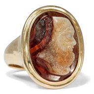 Klassizistische Gemme in vintage Gold RING, Kamee Cameo Sokrates Herrenring
