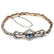Antikes Armband mit Saphir Diamanten in Gold & Silber, um 1910 / Jugendstil